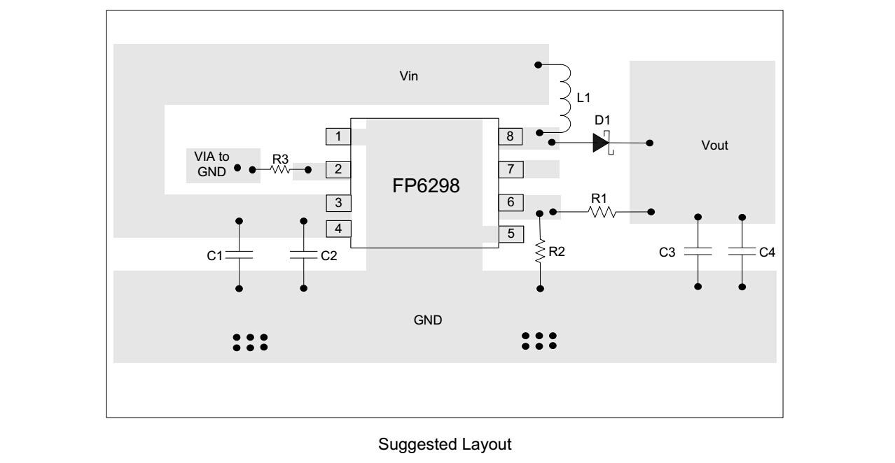 这是极限值,输出电压要在9v以下; fp6298因为输出电压是由fb脚的两个