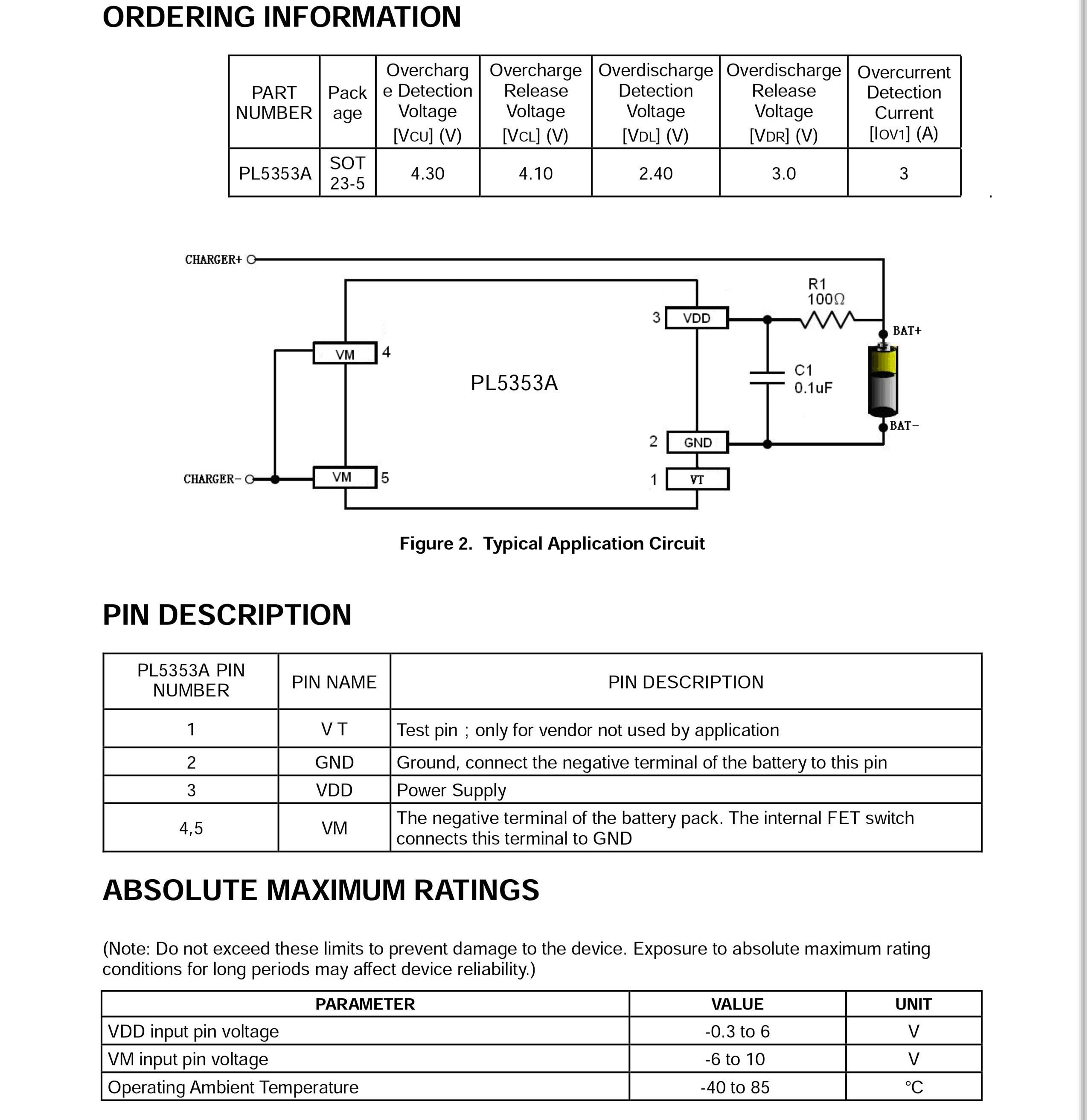 锂电池保护电路pl5353a